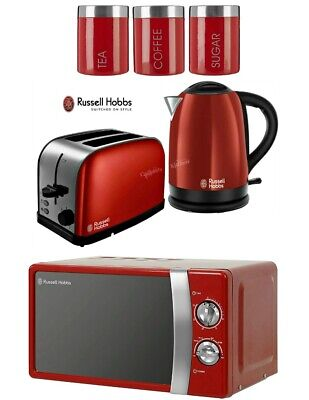 Russell Hobbs Dorchester Kettle and Toaster with Microwave & Canisters - Red