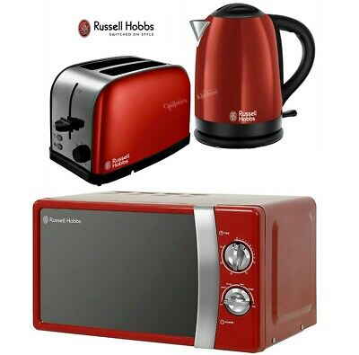 Russell Hobbs Dorchester Kettle and Toaster with Manual Microwave - Red