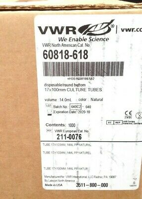 VWR 60818-618 Disposable Round Bottom 17 x 100mm Culture Tubes 14.0mL SEALED