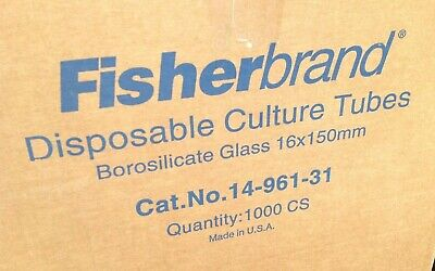 Fisherbrand 14-961-31 Disposable Culture Tubes 16 x 150 mm 1000/cs SEALED
