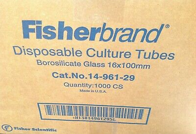 Fisherbrand 14-961-29 Disposable Culture Tubes 16 x 100 mm 1000/cs SEALED