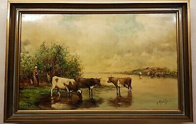 Antique Framed Painted Tile Dutch Landscape With Cows Colourfull Holland Signed