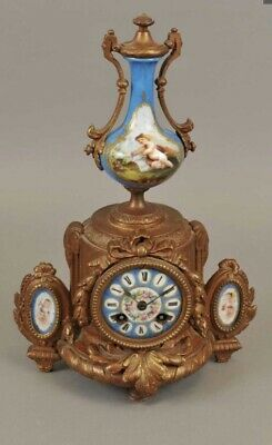 Antique French Rococo Gilt Metal Figural Striking Mantel Clock With Enamel Panel