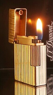 ST DuPont Lighter Rare Gold Line 1 Small Functional Serviced Warranty VGC X89