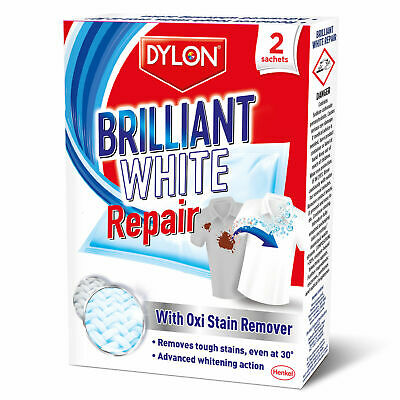 Dylon Brilliant White Stain Repair Remove Tough Stains In The Wash x 2 Sachets