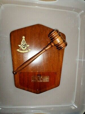 Vintage 1971  Masonic Award Plaque Solid Wood W/Hammer & Emblem Preowned