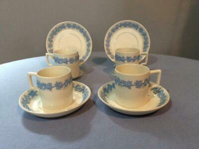 Wedgwood Embossed Queensware lavender on cream FOUR demItasse cups and saucers