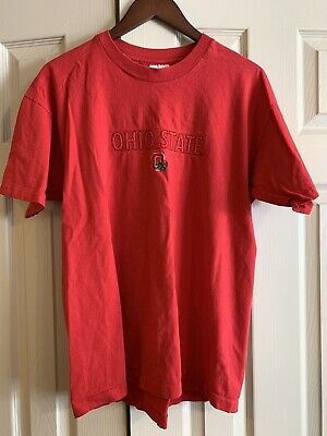 T-Shirt True Vintage 90s? Ohio State Buckeyes Embroidered Red Large L USA Made