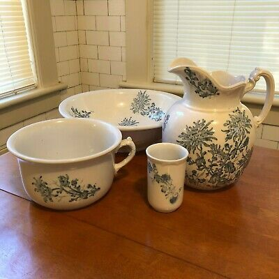 4 Piece Washstand Set - Floral Blue & White - Basin, Pitcher, Chamber Pot, Cup