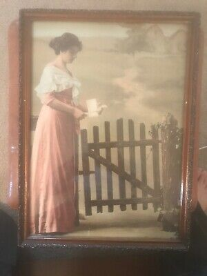 """Antique Print Lady Holding Letter On Farm Beautiful 17""""x12.5"""" Includes Frame"""