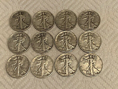 Walking Liberty Half Dollars - Silver 90%-lot of 12 coins-all different dates