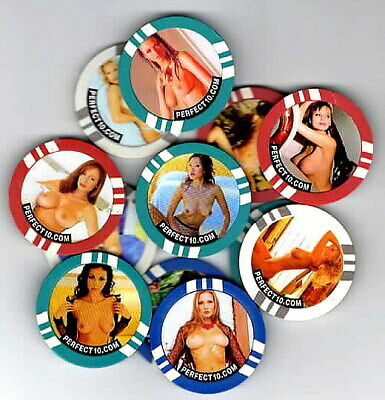 12 diff obsolete ADVERTISING POKER CHIPS Perfect 10 men's adult model magazine