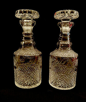 "Pair of Antique/Vintage Cut Crystal Decanters- Etched Floral Band- 11"" Tall"