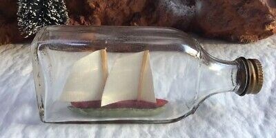 Antique Ship in a bottle, Miniature Boats, Decor Office, mens Gifts, Nautical