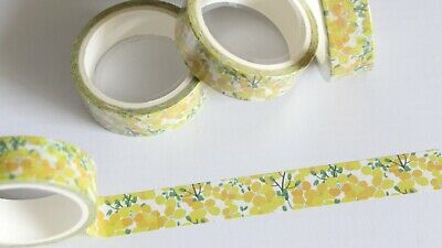 Yellow floral washi tape, yellow, flowers, 15mm x 5m