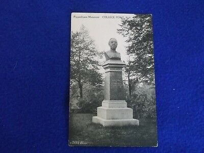 Postcard ~ Poppehusen Monument ~ College Point NY ~ 1 Cent Stamp 1914(?)