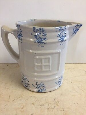 """Window Pane"" Spongeware Pitcher With Sponged Paw Print Stoneware"