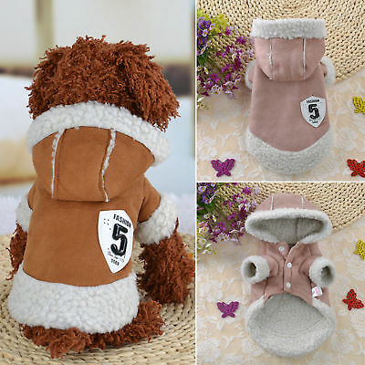 Winter Apparel Puppy Pet Dog Cat Cute Clothes Warm Hoodie Coat Jacket Outfits US
