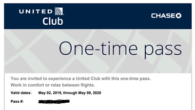 Two (2) United Airlines Club One-Time Pass Expires May 09, 2020 E-delivery