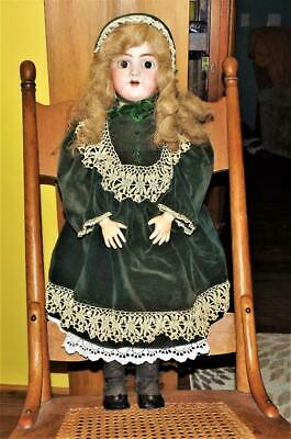 """Excellent Signed Handwerck 1880's Antique Lg 26"""" Bisque jointed german doll #109"""