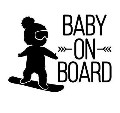 Snowboarding Baby On Board Black Car Window Sticker Decal Snowboard Reflective