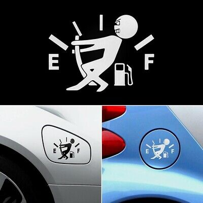 Funny Empty Fuel Cap Tank Gas Emoji Car Window Sticker Decal Reflective Black