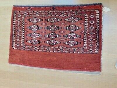 Antique Turkmen Large Tribal Bag Woven Wool Textile Geometric Tapestry