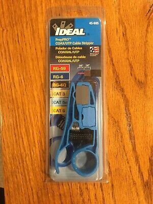 New In Package 45-605 IDEAL PrepPro Coaxial UTP RG6/6Q/59 Cable Stripper