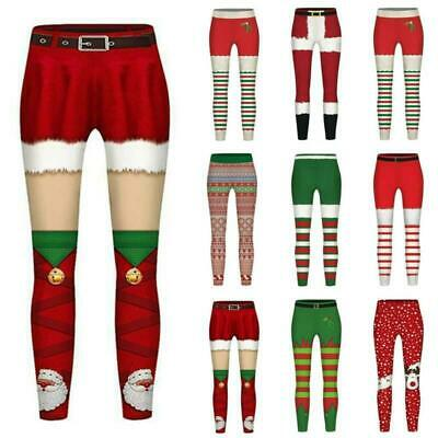 Childs Kids Girls Christmas Printed Stretchy Leggings Long Pant Fitness Trousers