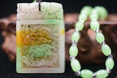 Chinese master Hand carved aristocratic wearing Jadeite jade pendant L99