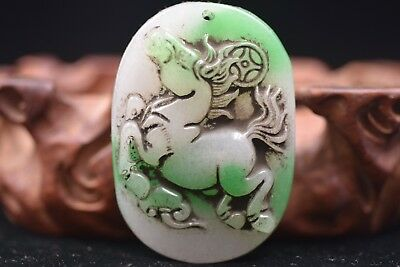 Chinese master Hand carved aristocratic wearing Jadeite jade pendant L105