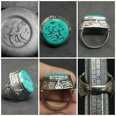 beautiful silver plated ring with stunning turquoise camel intaglio stone