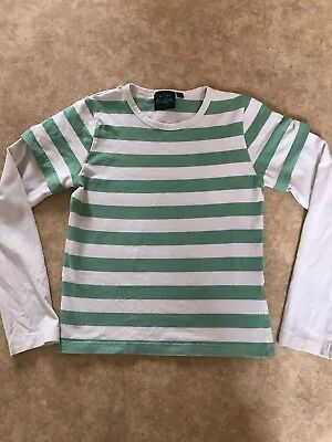 Mini Boden Top Green And White Stripe Aged 9-10 Years