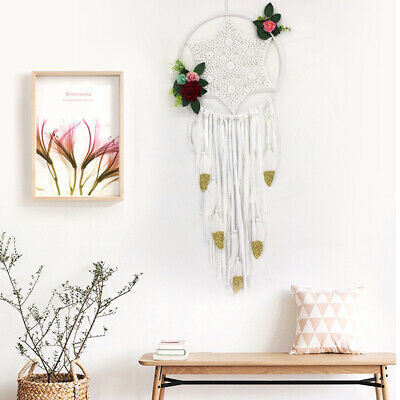 Large White Feathers Hand-woven Dream Catcher Car Wall Hanging Decoration Gifts