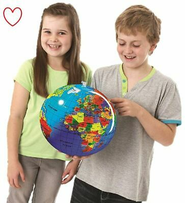 Inflatable Globe Map Ball World Earth Geography Blow up Atlas Education Toy 30cm
