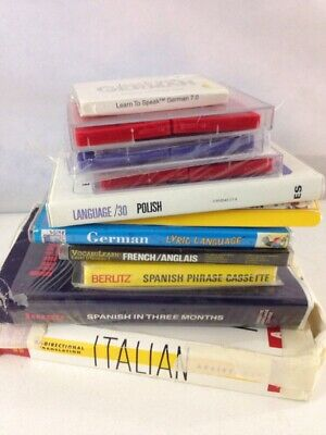 Lot of 10 - Language & Grammar Learning Cassettes -German French Spanish Italian