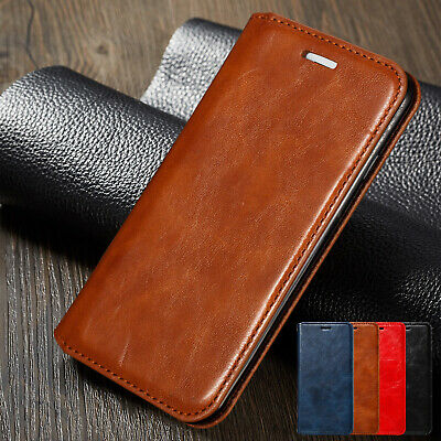 For iPhone 8 Plus 7 6s XS Max XR Cover Magnetic Flip Retro Leather Wallet Case