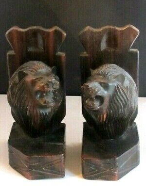 Antique Old Black Forest Lion Head Bookends Heavy Solid Carved Wooden Pair..