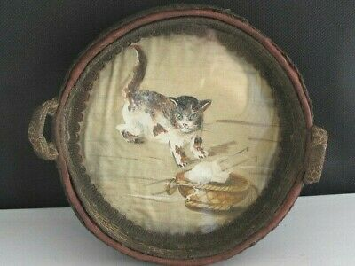 Antique French Art Deco Style Cat Oil Painting on Silk Basket Unusual c1920
