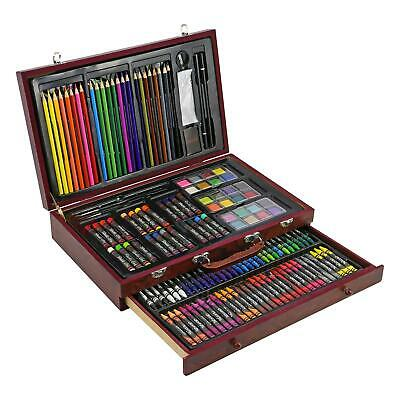 135pc Wooden Art Set Case Colouring Pencils Painting Drawing Children Adults
