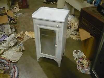 Vintage Metal Medical Cabinet with tray Dr office Cast Iron Porcelin Top
