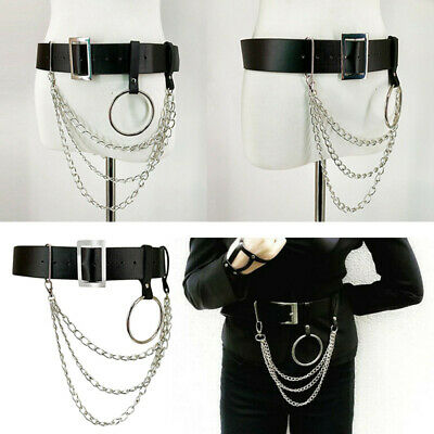 Punk Rock Gothic Leather Waist Belt Chain Metal Tassel Hoop O-Ring Strap