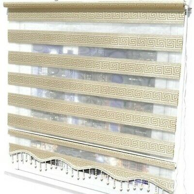 Double Roman Blind Duo Shade Versace Gold Clip-Fit Zebra Curtains Vintage
