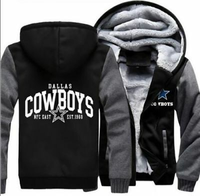 NEW Men's Dallas Cowboys Hoodie Zip up Jacket Coat Winter Warm Black and Gray