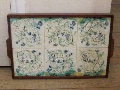 Unusual Vintage Art Nouveau Style Six Tubelined Tiles Tray Insects and Beetles