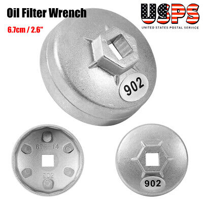 "Silver Car Oil Filter Cap Wrench Cup Socket Remover Tool 65mm//2.56/"" 14 Flute BT"