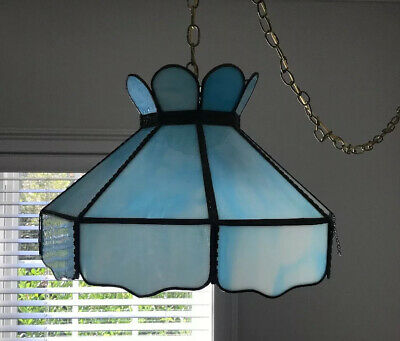 Vtg Blue Slag Leaded Stained Glass Ceiling Hanging Swag Lamp Light 8 Panel