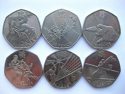 London Olympic 2012 Fifty 50p Coins Circulated Chair Rugby Archery Basketball 01