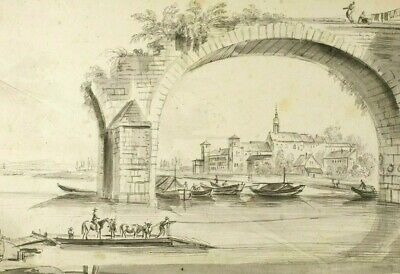 19th century Ink Drawing - Dessin Ancien - Boat, River, Bridge, Figures, Boat
