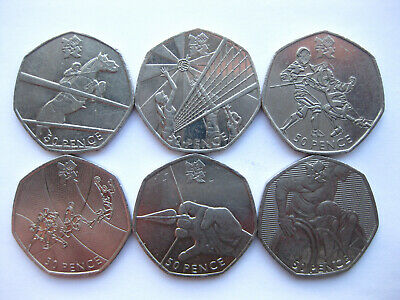 London Olympic 2012 Fifty 50p Coins Circulated Fencing Rugby Basketball 02